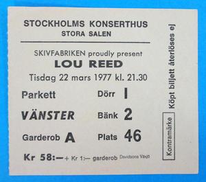 LOU REED - Stockholm 1977