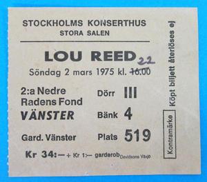 LOU REED - Stockholm 1975