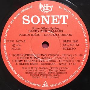 KARIN KROGH & DEXTER GORDON - Some other spring - Blues and ballads Norway-orig LP 1970