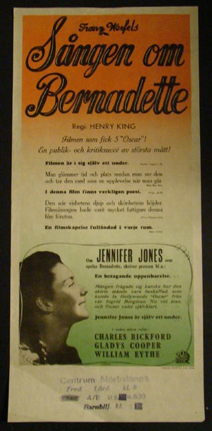 THE SONG OF BERNADETT (JENNIFER JONES, CHARLES BICKFORD, GLADYS COOPER )