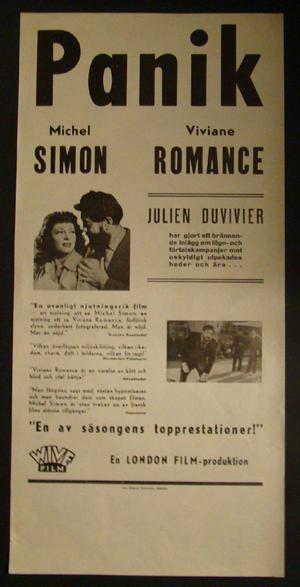 PANIK (MICHEL SIMON, VIVIANE ROMANCE, JULIEN DUVIVIER)