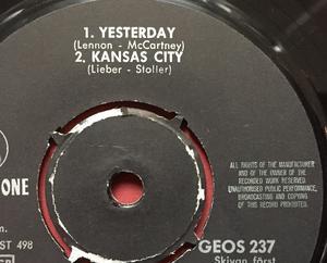 BEATLES - Dizzy miss Lizzy + 3 EP MISPRESS label Swe 1965