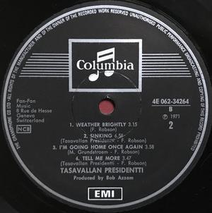 """TASAVALLAN PRESIDENTTI - """"same"""" Swe-orig LP 1971"""