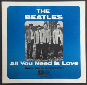 """BEATLES - All you need is love 7"""" JEFF BECK toplist Swe-67 Swe-6 PS ONLY - Archive copy / MINT-!"""