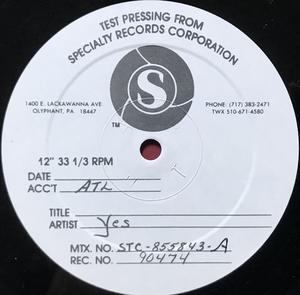 YES  - 9012 LIVE US-orig TESTPRESSNING LP 1985