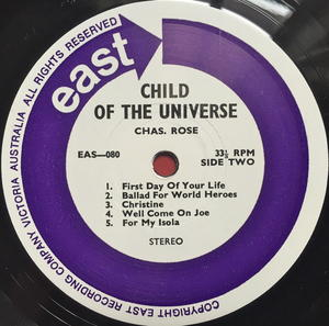 CHAS ROSE - Child of the universe Australia-orig LP 1976