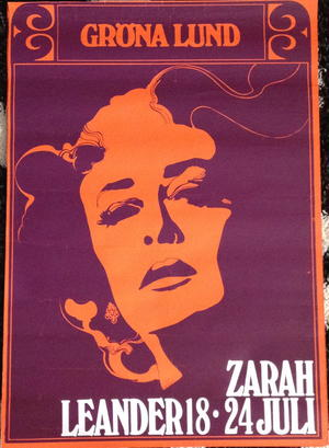 ZARAH LEANDER (ca 1968-69) Konsertaffisch