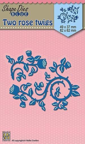 Nellie Snellen - Shape dies blue - Two rose twigs