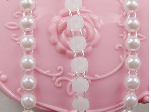 Pärlband, vit, 4mm