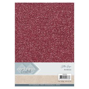 Card Deco - Glitterpapper - Bordeaux