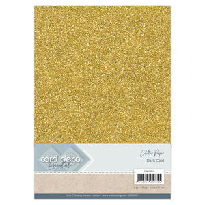 Card Deco - Glitterpapper - Dark gold