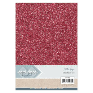 Card Deco - Glitterpapper - Christmas red