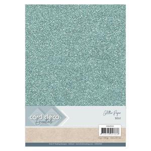 Card Deco - Glitterpapper -Mint