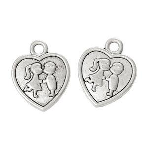 5 st hjärta, silver med pussande barn