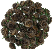 10 st rosor -chokladbruna - 15 mm