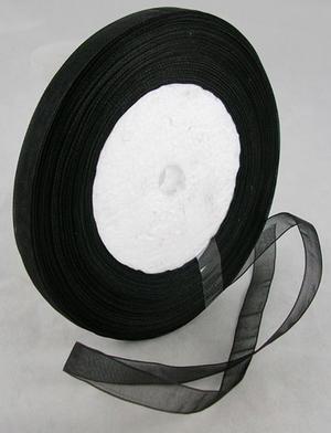 Organzaband svart 10 mm brett