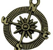 3- pack Kompass i antikguld - Steampunk!
