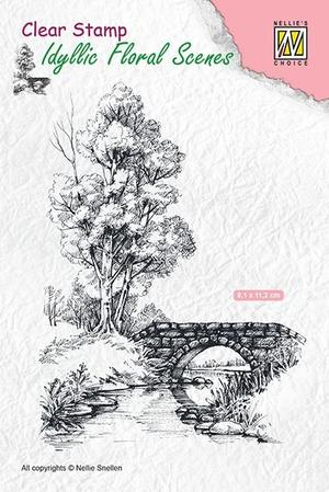 Nellie Snellen - Clear Stamp - scene-with stream and bridge