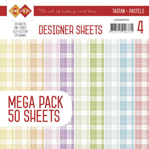 Card Deco - Designer sheets - rutigt  -Pastell  colors