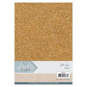 Card Deco - Glitterpapper- bronze