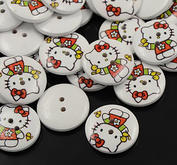 10 st Hello Kitty knappar 25 mm