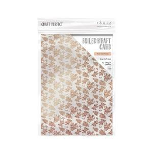 Craft Perfect - Foiled kraft card- Rose Gold Posies