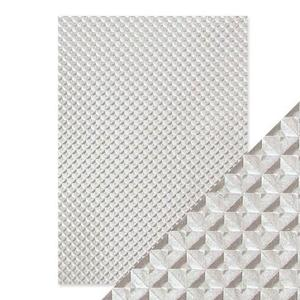 Tonic Studios - Embossed paper -silver chequer