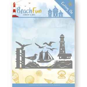 Jeanine´s Art -Beach fun - Lighthouse border