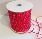 Pärlband, röd,  4 mm
