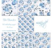 ROX Stamps Papper - Paperpad Blå Blomster