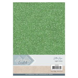 Card Deco - Glitterpapper - Light Green
