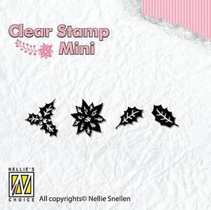 Nellie Snellen -CLEAR STAMP - mini - holly leaves