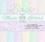 """Papperspack 12 x 12""""  Basic music letters"""