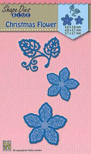 Nellie Snellen - Shape dies blue - Christmas flowers