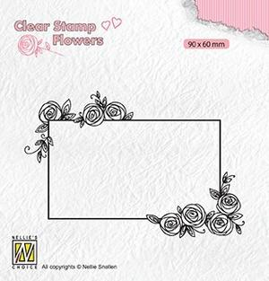 Nellie Snellen - Clear stamp -Rectangle frame with roses