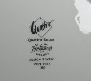 Socker och gräddkanna, Quattro Rosso, BW