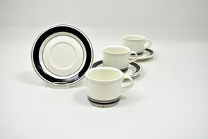Kahvikupit ja aluslautaset 3 kpl, Faenza, Mustaraita, PW