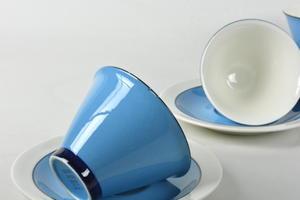 Kaffekoppar och fat, 3 st,  Harlekin, Turkos, IL