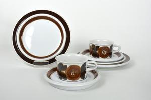 Mocka- espressokoppar, underfat och assietter, 6 delar, Rosmarin, handmålad, UP