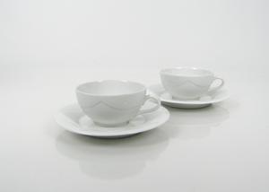 Kahvikupit ja alusvadit, 2 kpl, Quattro Bianco, BW