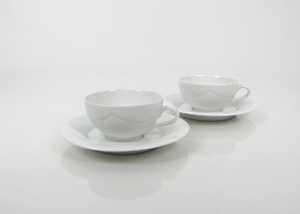 Kaffekoppar och fat, 2 st, Quattro Bianco, BW