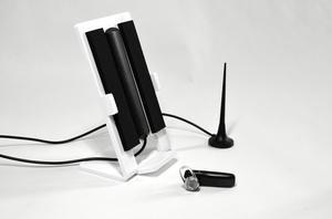 Mobiltelefonhållare med inbyggd antenn - Vit