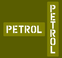 "Jerry can stencil ""PETROL"""