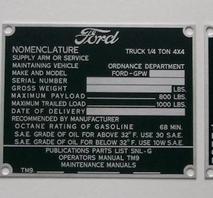 Dataplåtar set FORD GPW aluminium 1944-45