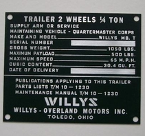 Data plate trailer WILLYS MBT early