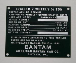 Dataplåt trailer Bantam tidig