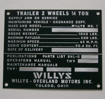 Data plate trailer WILLYS MBT late