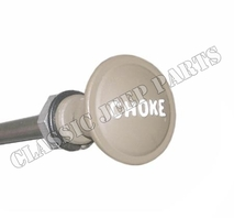 Metal choke knob with raised letters including wire and cover early