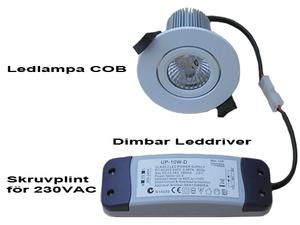 Dimbar COB Downlight Lampa Vit 7W