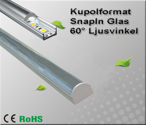 """Aluminiumprofil för ledtejp Låg """"Snap In Glas"""" 60°"""